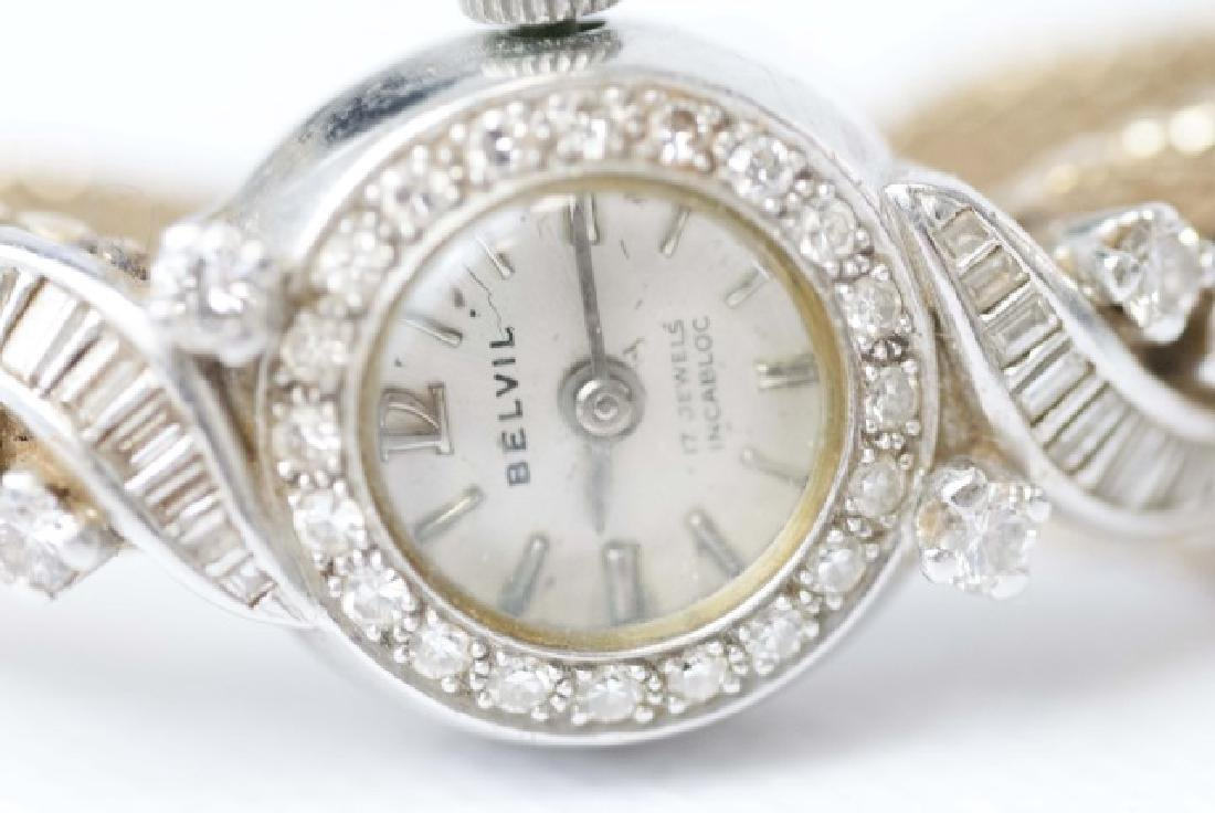 Estate 14kt Gold & Diamond Belvil 17 Jewel Watch - 3