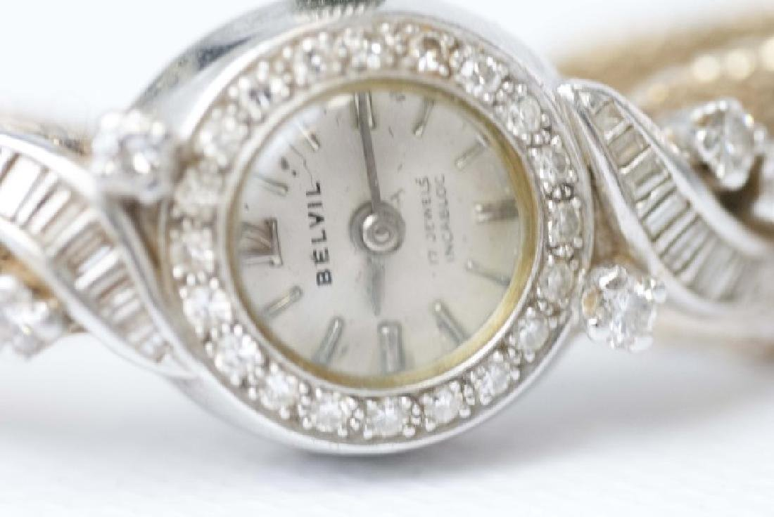 Estate 14kt Gold & Diamond Belvil 17 Jewel Watch - 5