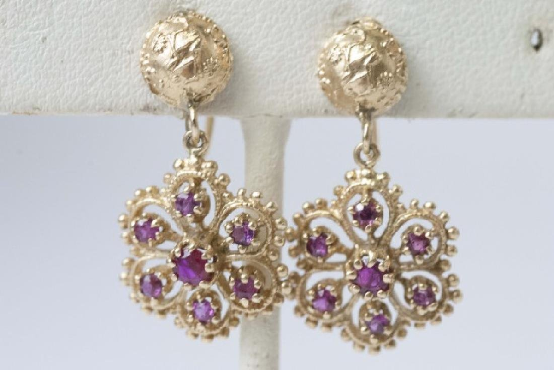 Estate 14kt Gold & Ruby Pair of Floral Earrings