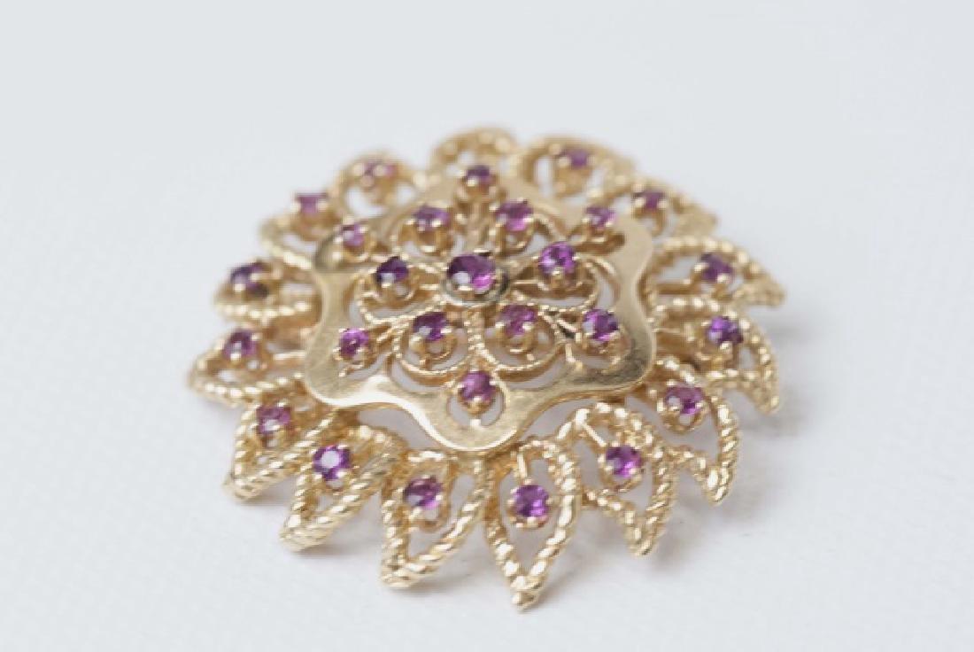 Estate 14kt Gold & Ruby Necklace Pendant / Brooch