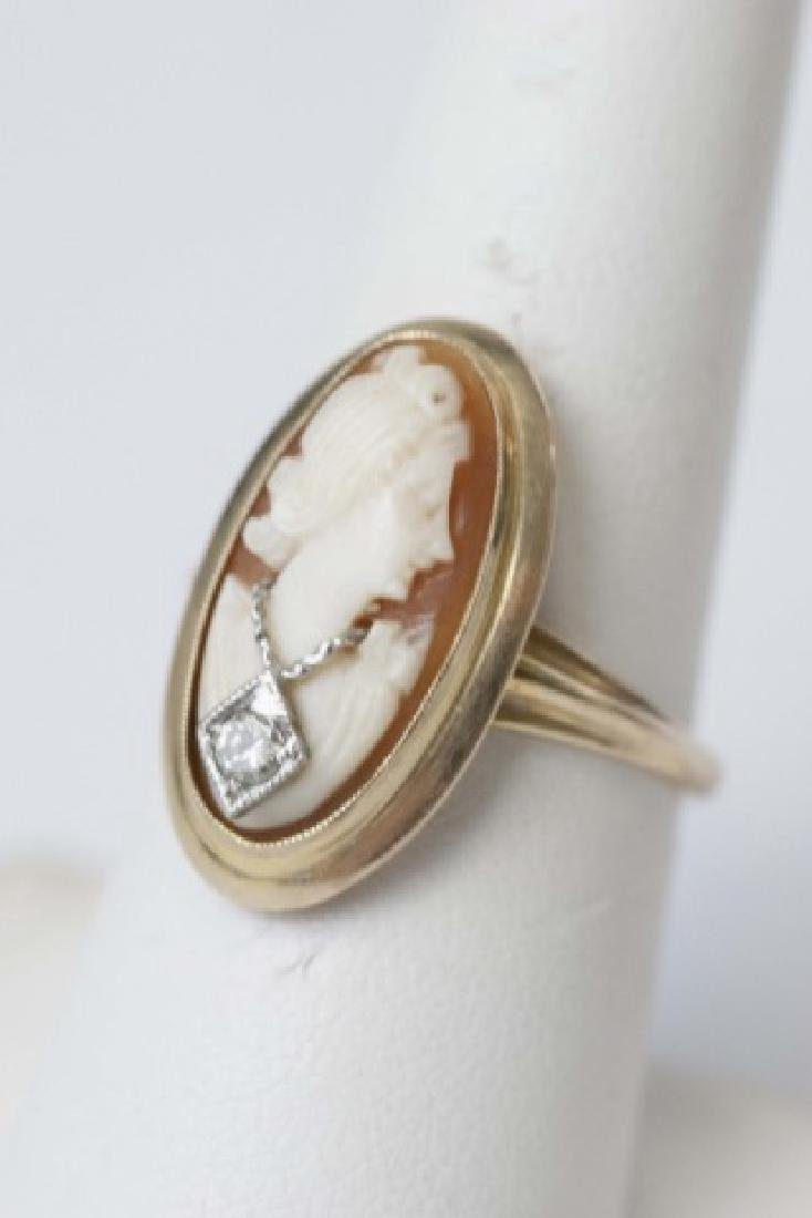 Vintage Hand Carved Shell Cameo Ring w Diamond