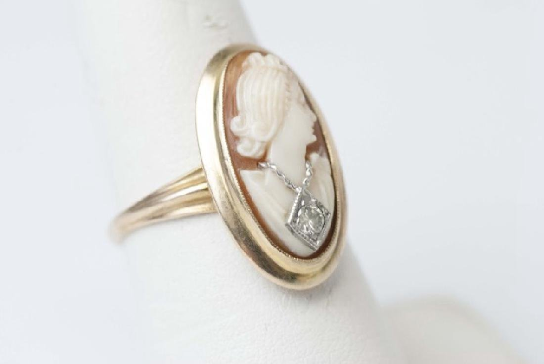 Vintage Hand Carved Shell Cameo Ring w Diamond - 3
