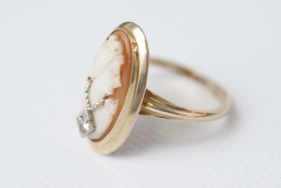 Vintage Hand Carved Shell Cameo Ring w Diamond - 4