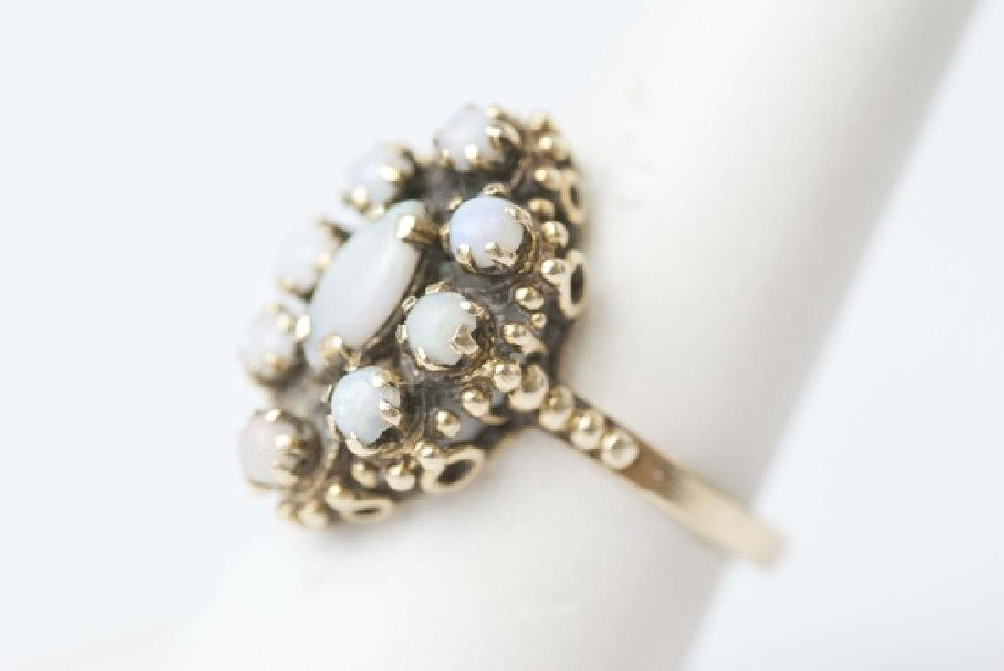 Antique Estate 14k Yellow Gold & Opal Navette Ring