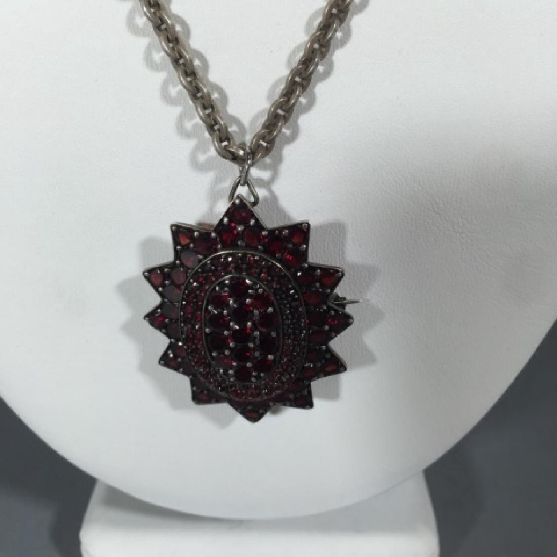 Large Antique 19th C Garnet Star Necklace Pendant