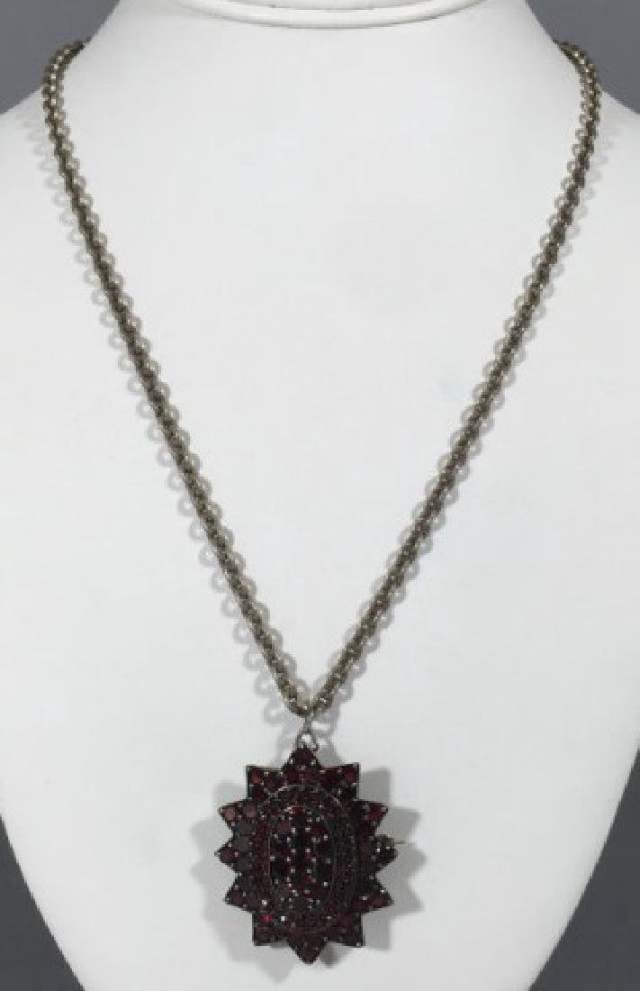 Large Antique 19th C Garnet Star Necklace Pendant - 2