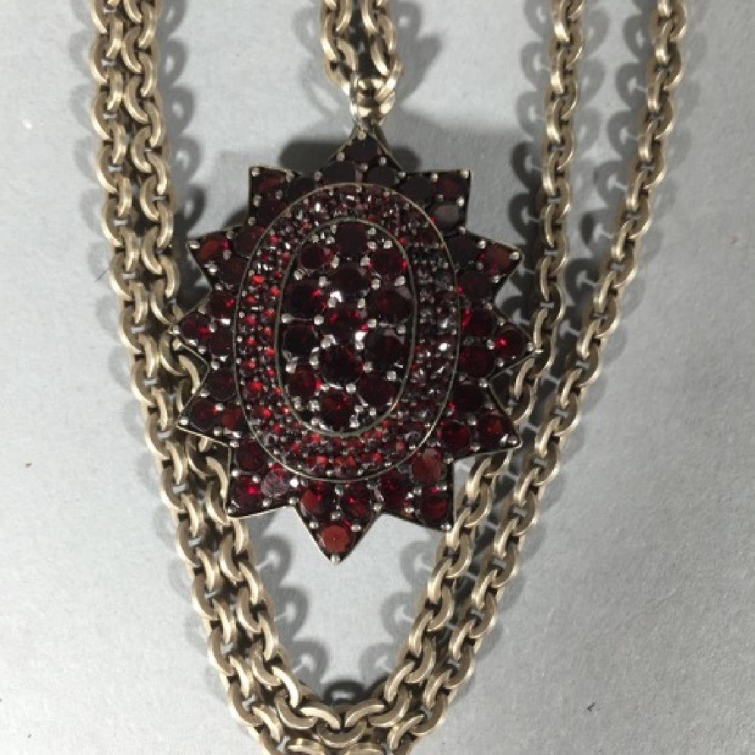 Large Antique 19th C Garnet Star Necklace Pendant - 5
