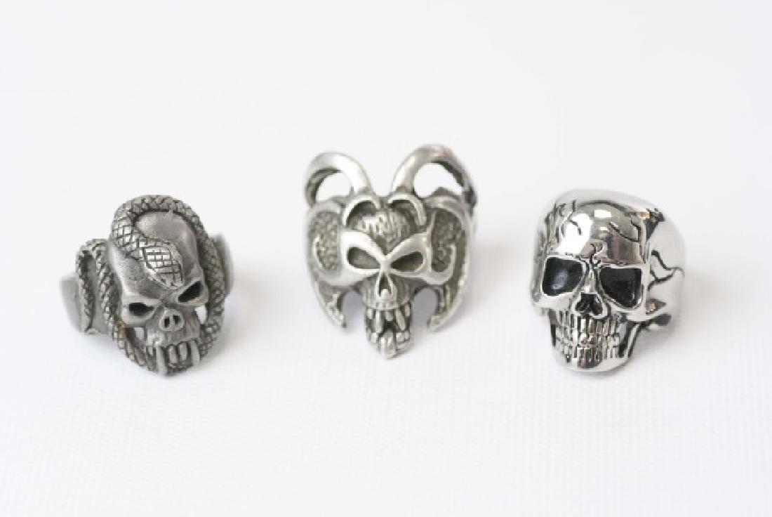 Three Men's Punk / Biker Style Statement Rings