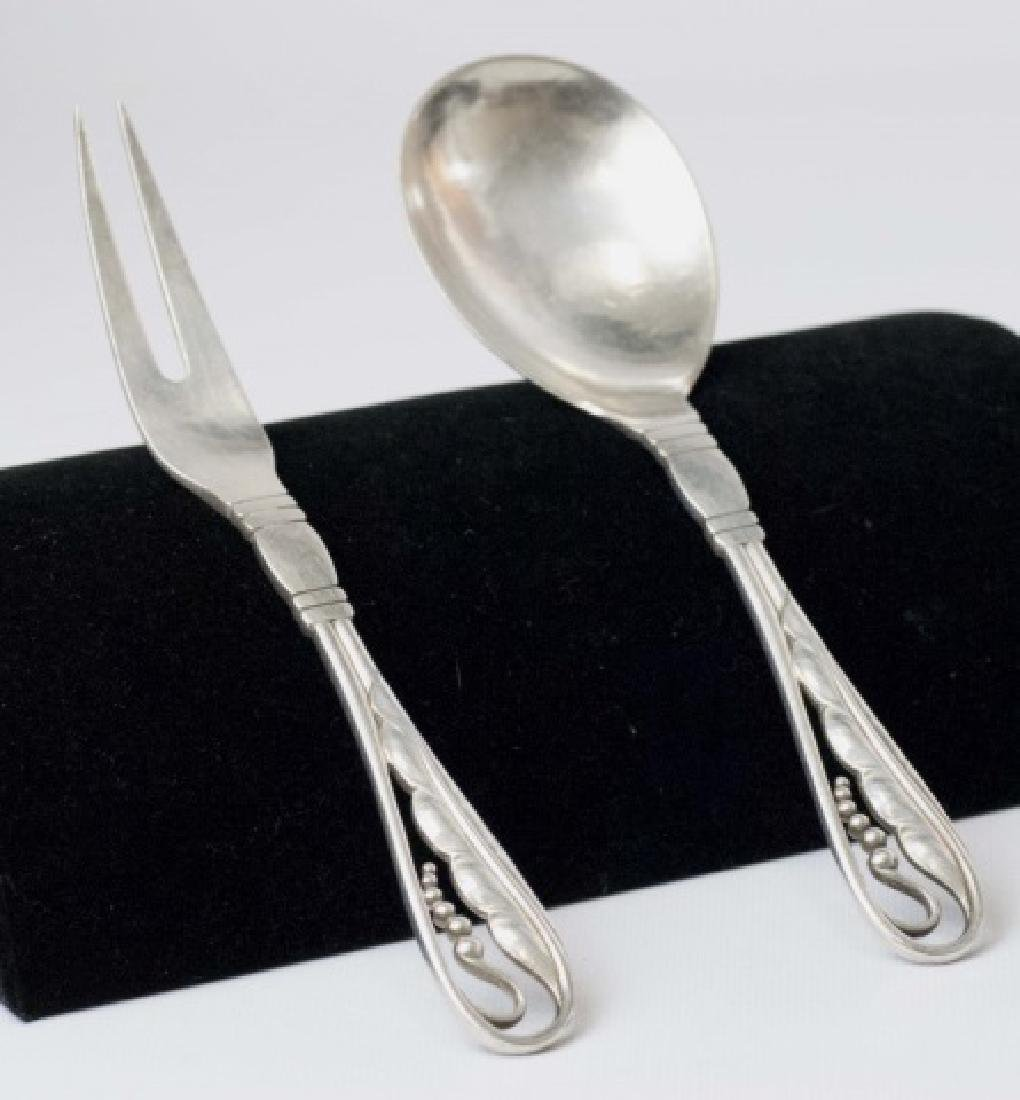 Pair Georg Jensen Sterling Silver Serving Utensils