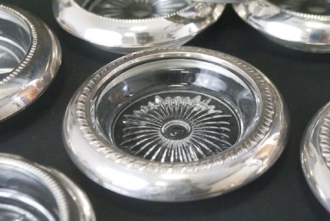 Group of Sterling Silver Rimmed Glass Coasters - 2