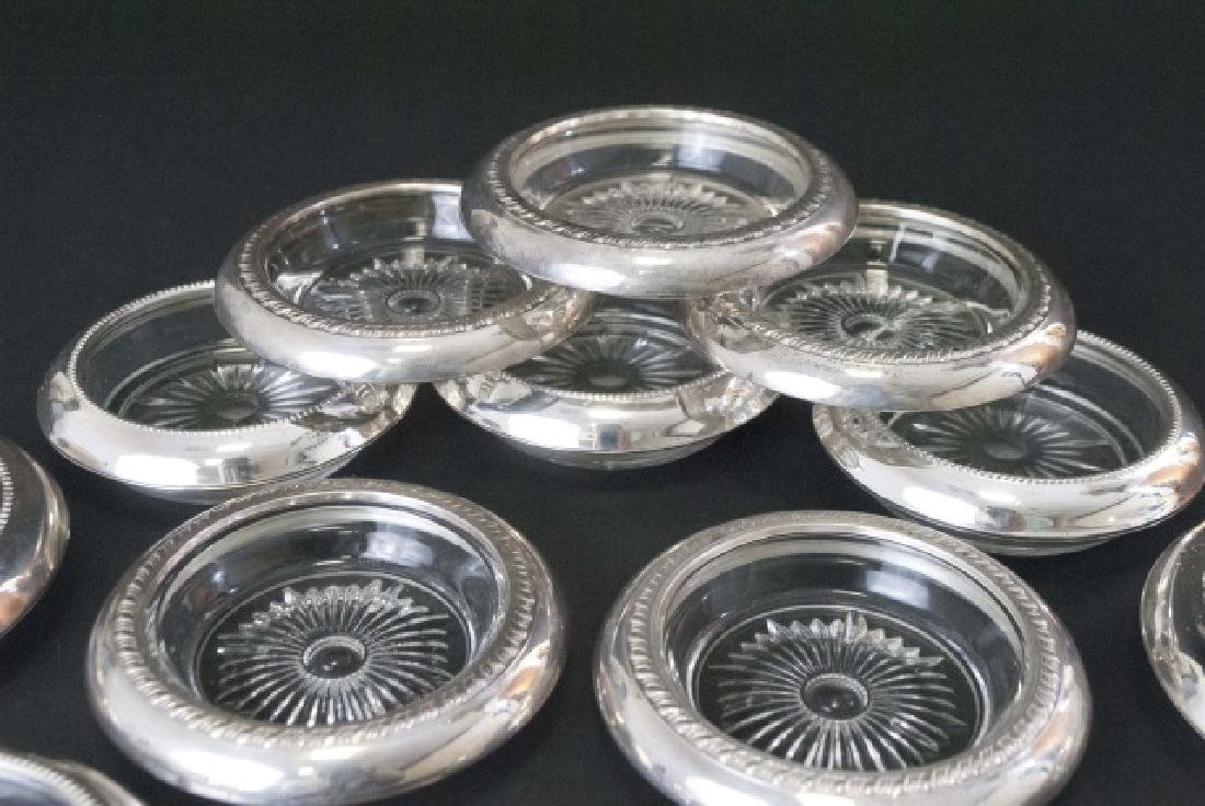Group of Sterling Silver Rimmed Glass Coasters - 3