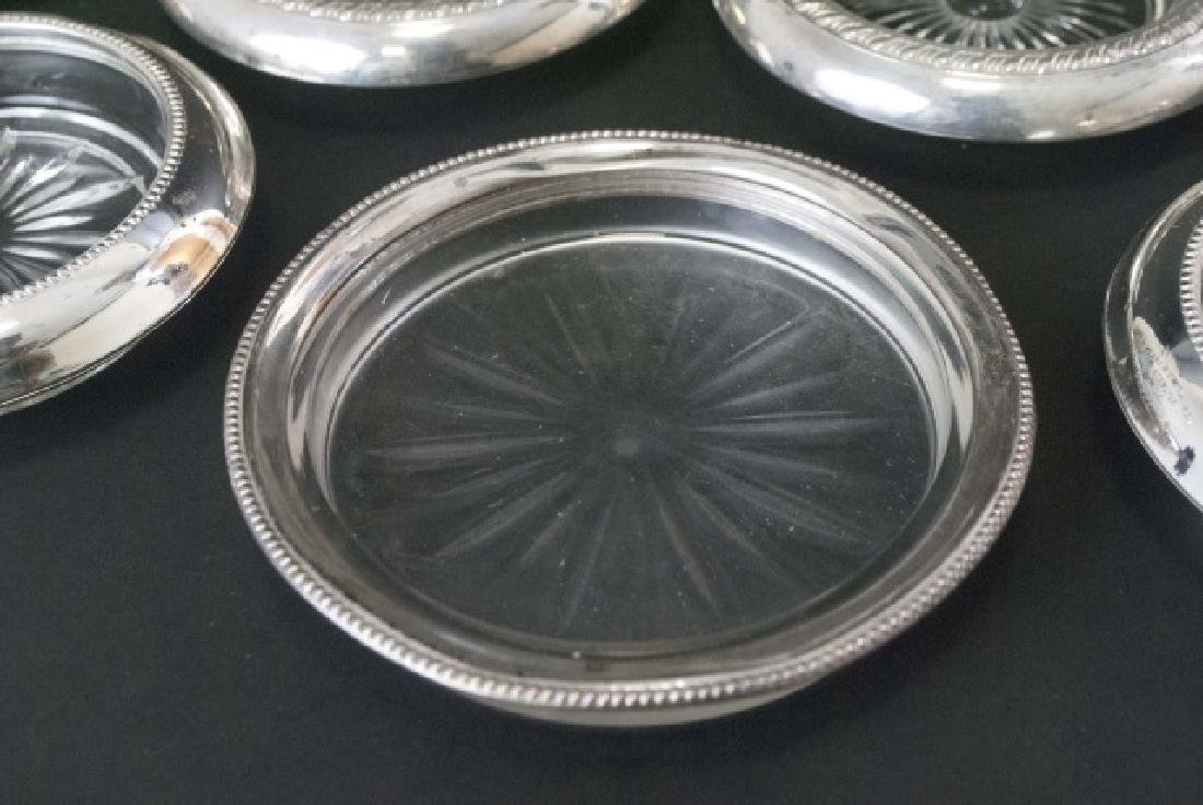 Group of Sterling Silver Rimmed Glass Coasters - 4