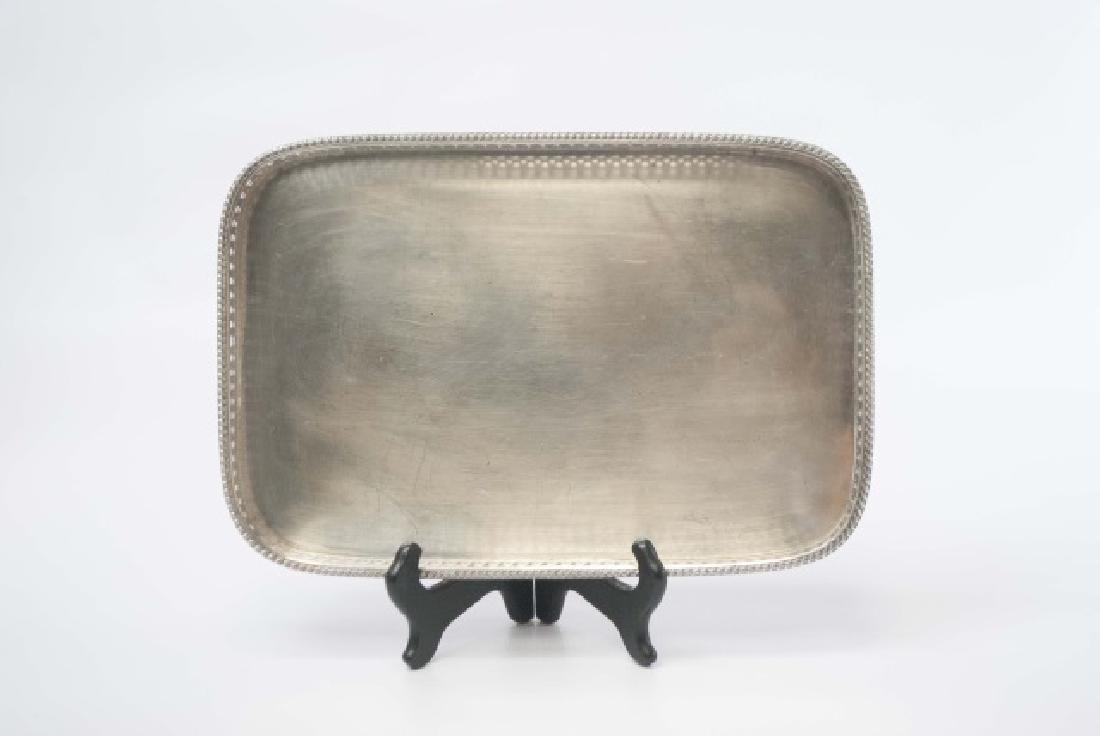 Three Silver Plate Serving Trays w Galleries - 10