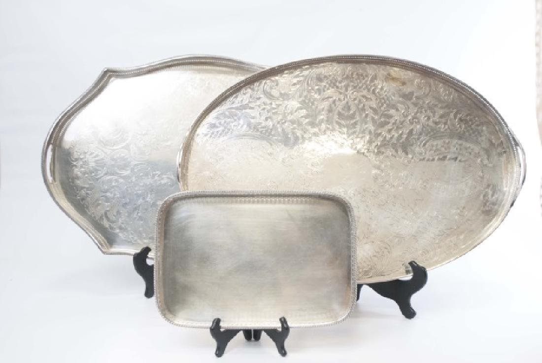 Three Silver Plate Serving Trays w Galleries