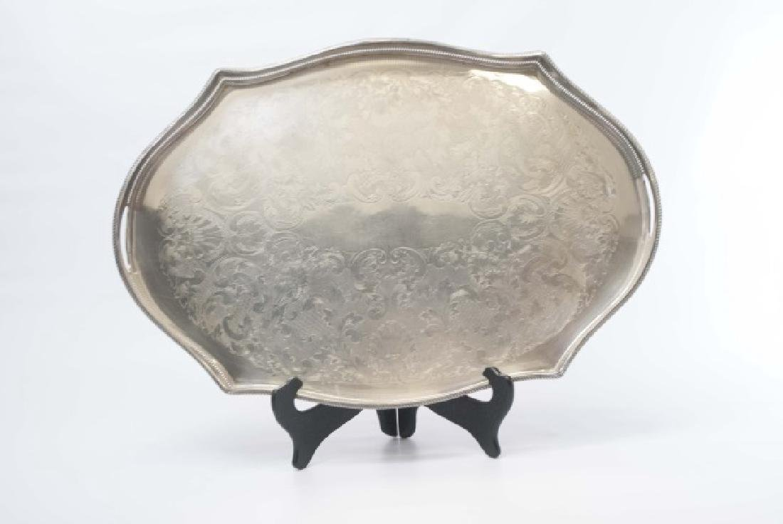 Three Silver Plate Serving Trays w Galleries - 2