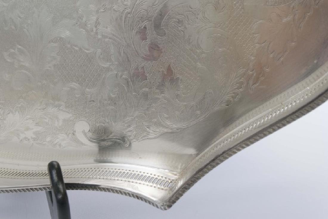Three Silver Plate Serving Trays w Galleries - 6