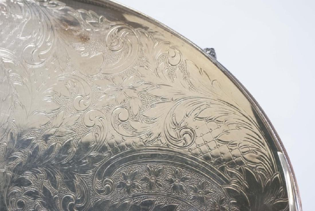 Three Silver Plate Serving Trays w Galleries - 8