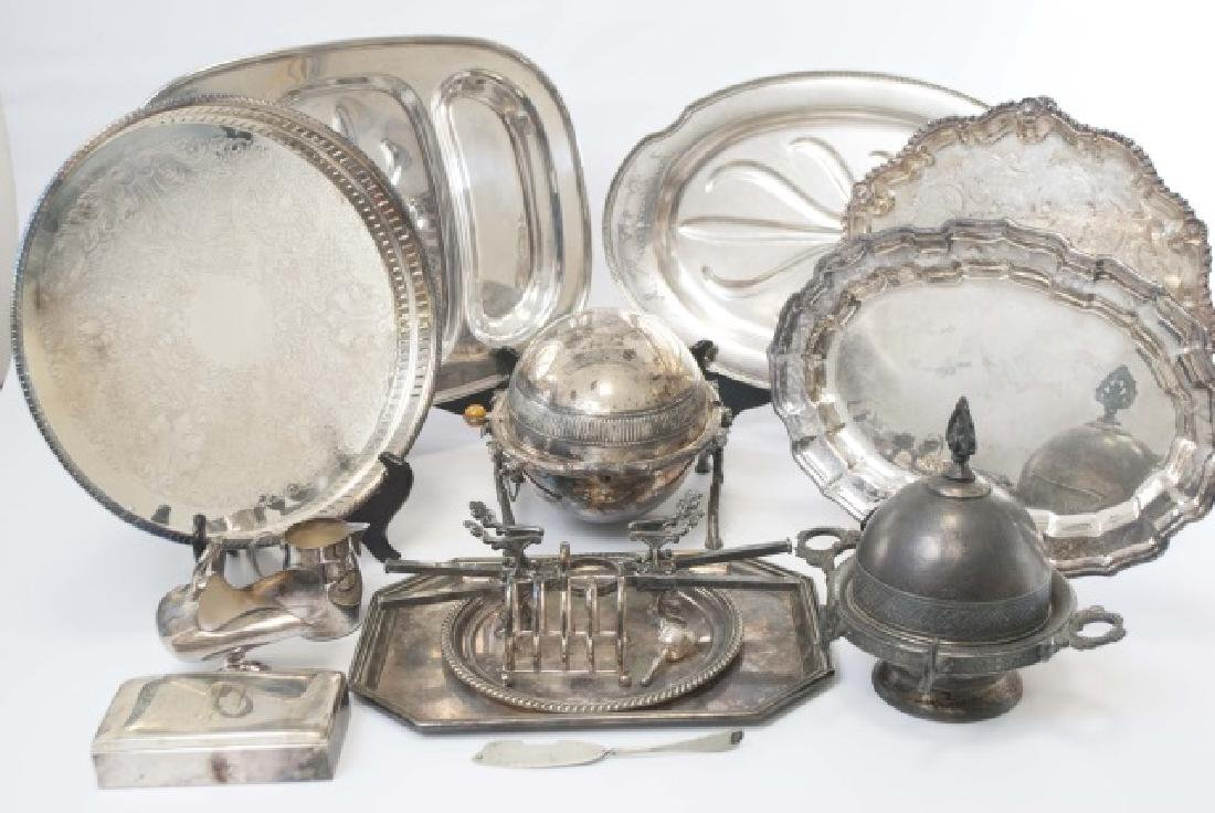 Group Silver Plate Serving Pieces, Tureen, Trays