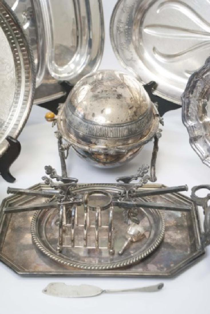 Group Silver Plate Serving Pieces, Tureen, Trays - 4