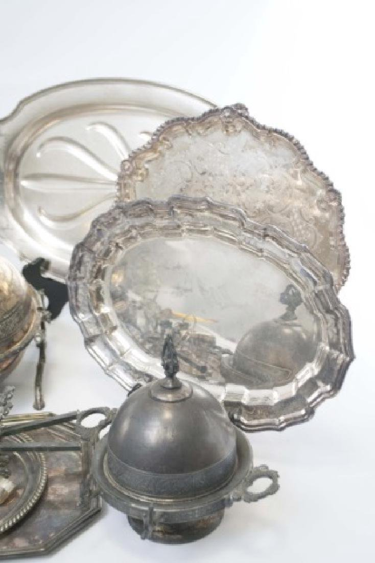 Group Silver Plate Serving Pieces, Tureen, Trays - 5