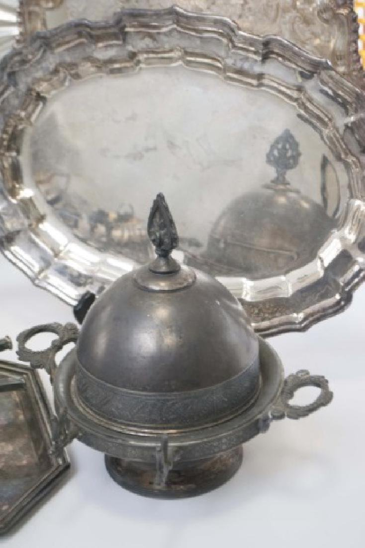 Group Silver Plate Serving Pieces, Tureen, Trays - 8