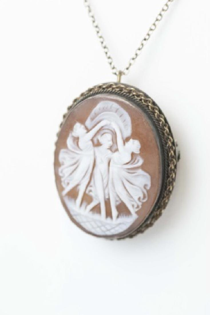800 Silver Wrapped Cameo on 14K Fine Chain