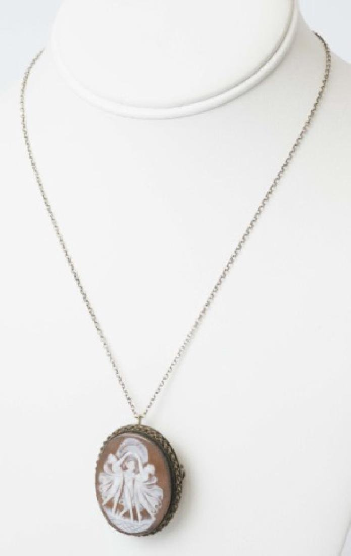 800 Silver Wrapped Cameo on 14K Fine Chain - 3
