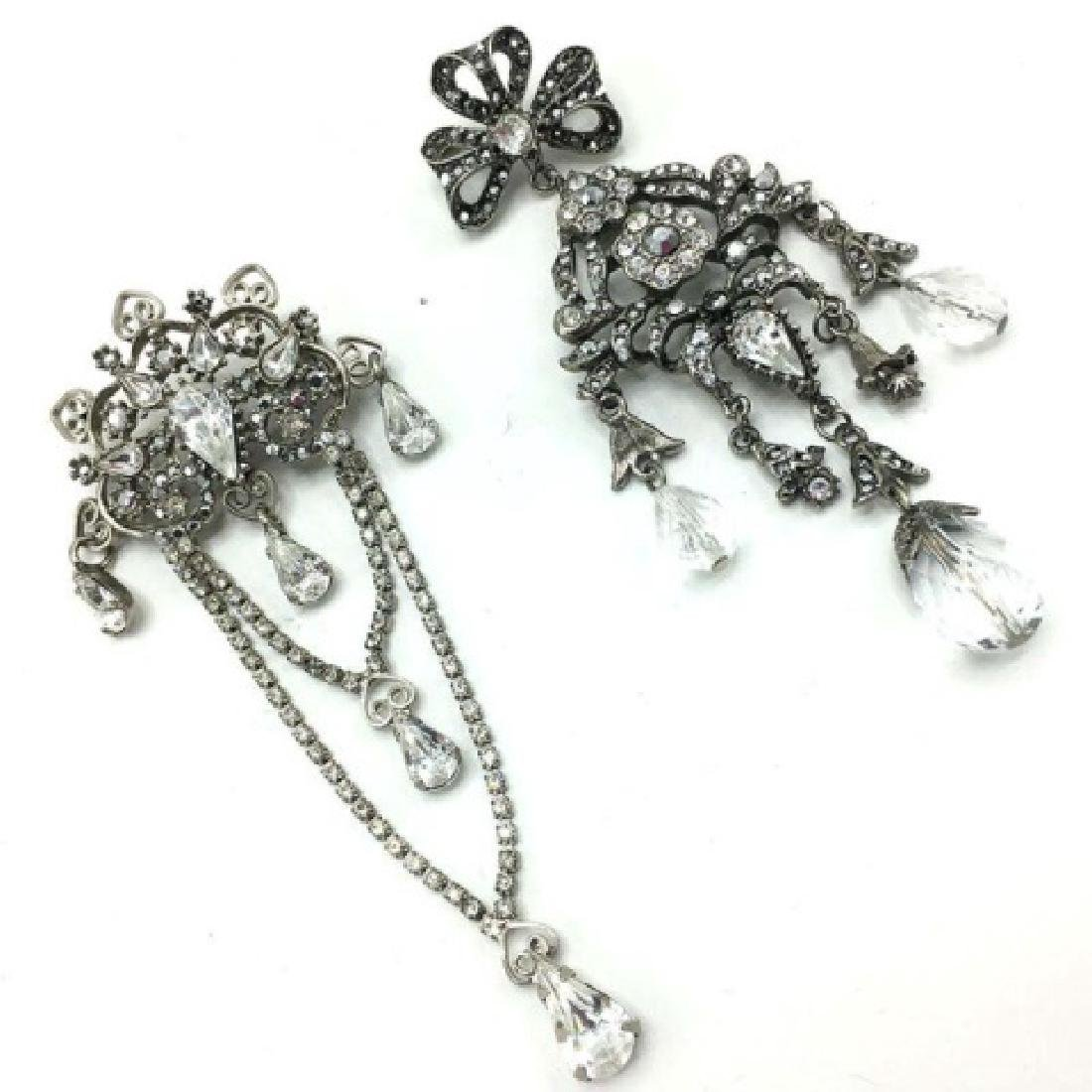 Pair of Signed Graziano Rhinestone Chandelier Pins