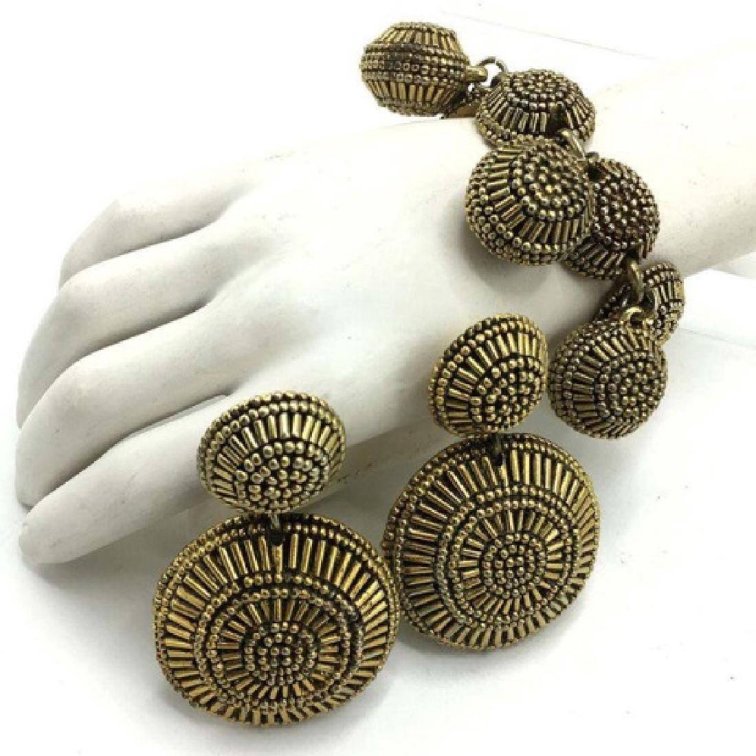 Vintage Costume 1970s Disc Drop Earrings Bracelet - 2