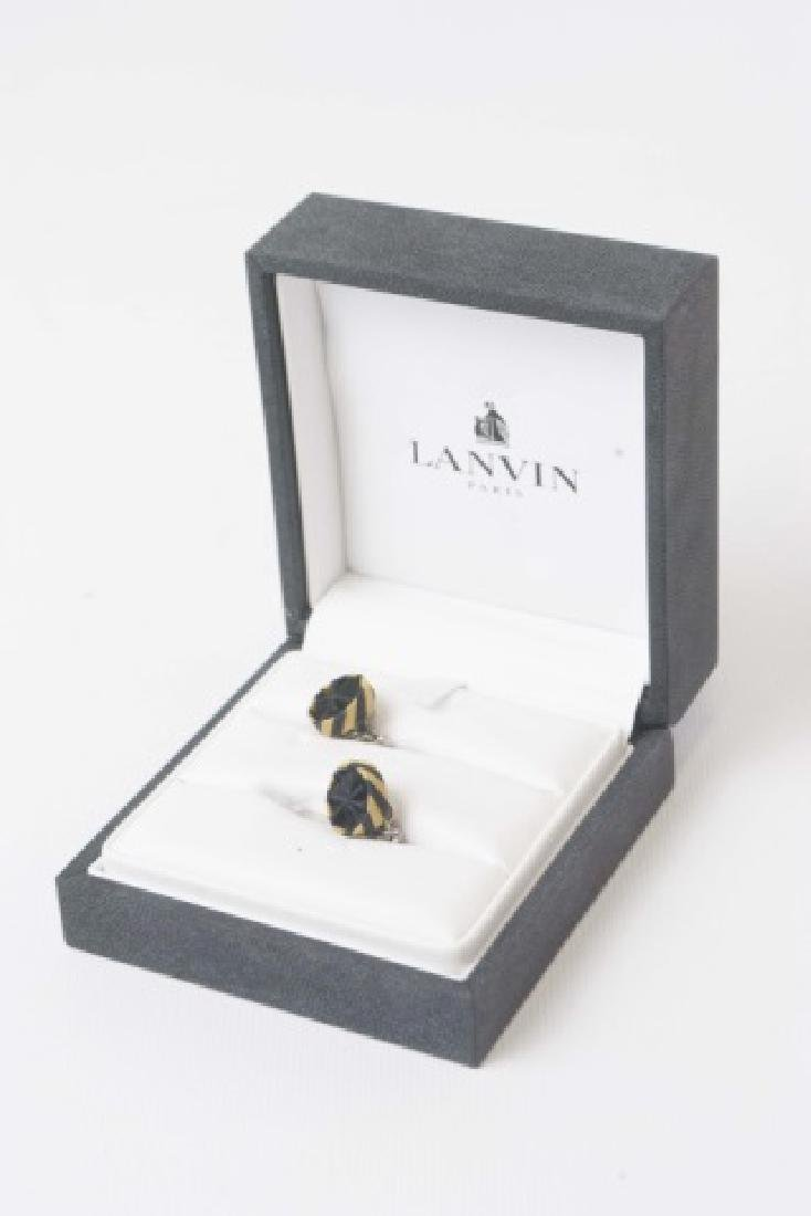Lanvin Sterling Silver & Silk Pair of Cufflinks