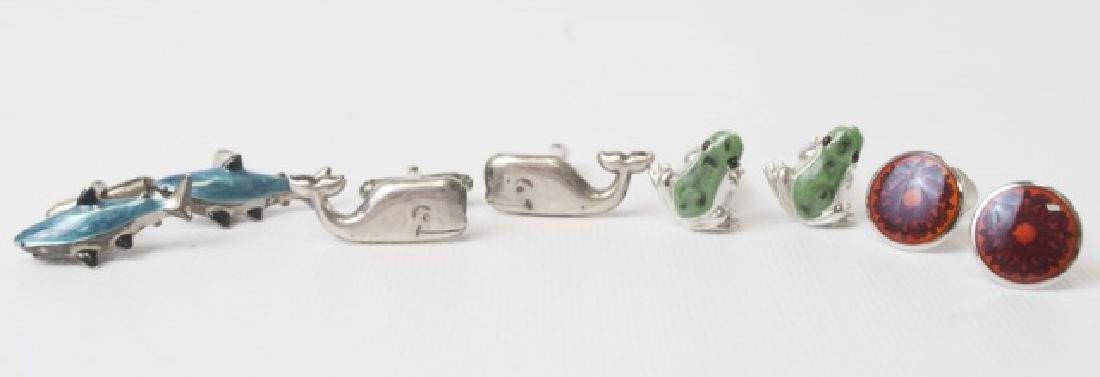 4 Pairs of Figural Cufflinks in Sterling & Enamel