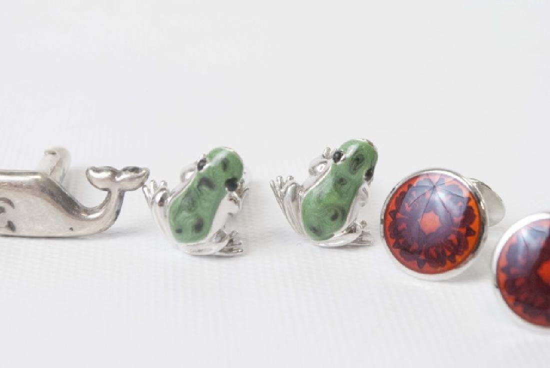 4 Pairs of Figural Cufflinks in Sterling & Enamel - 5