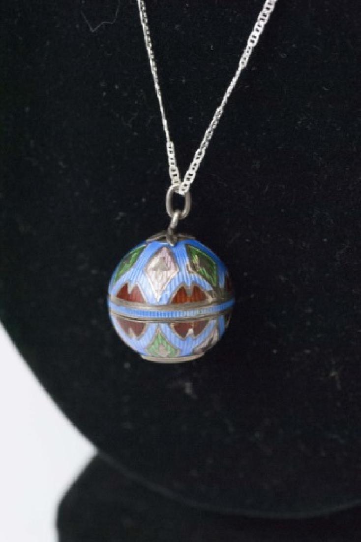 Antique Art Deco Enamel Watch Pendant on Necklace