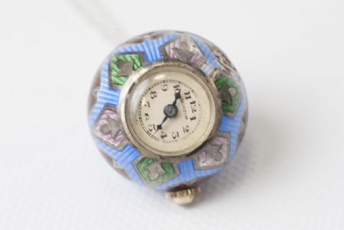 Antique Art Deco Enamel Watch Pendant on Necklace - 2