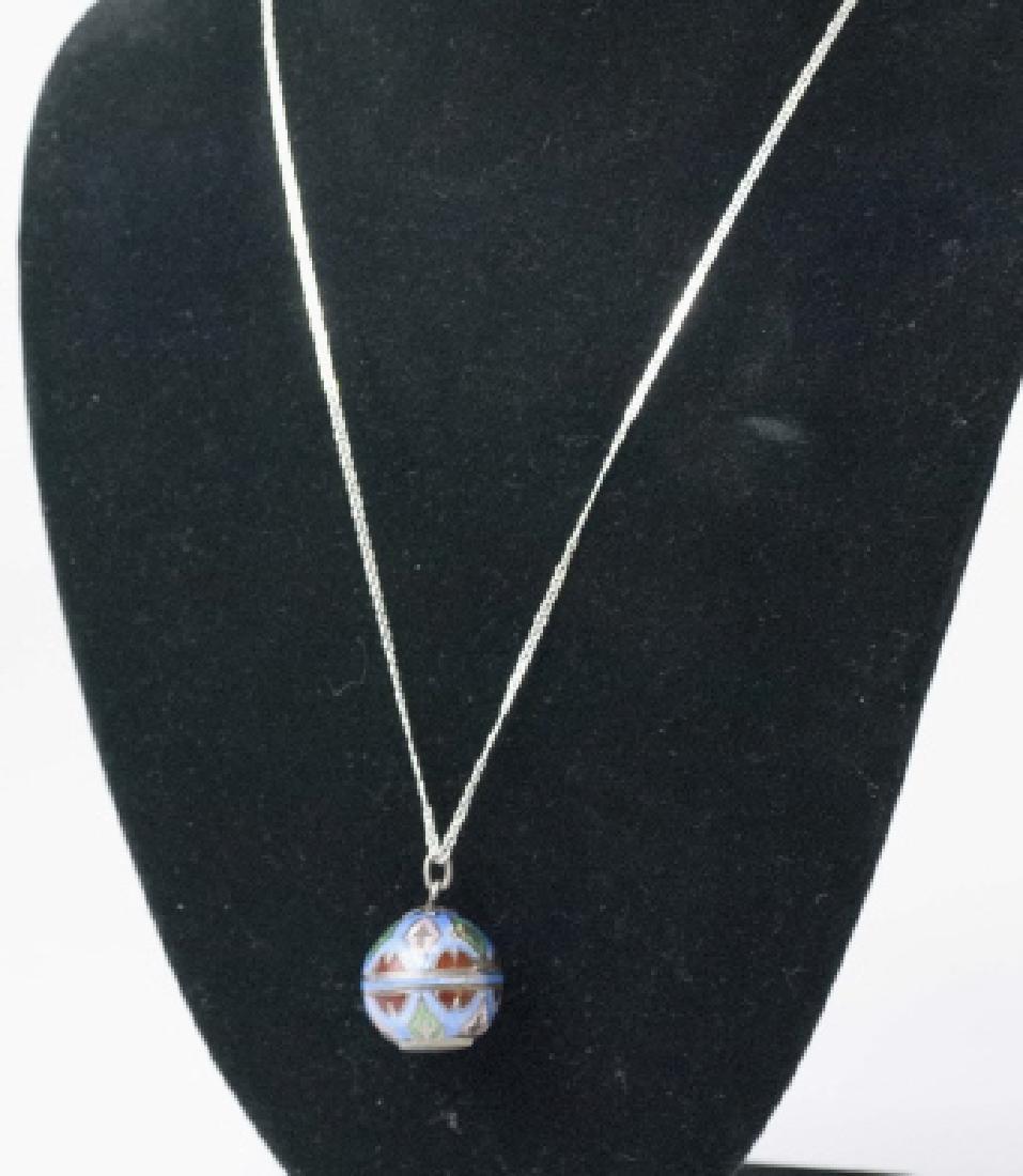 Antique Art Deco Enamel Watch Pendant on Necklace - 3