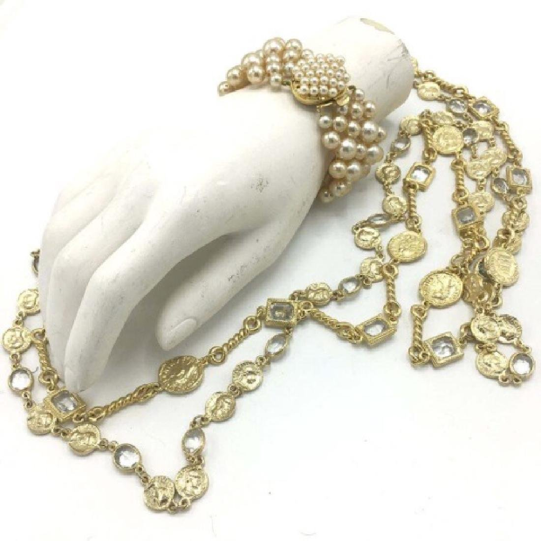 Costume Pearl Bracelet, Crystal & Coin Necklace