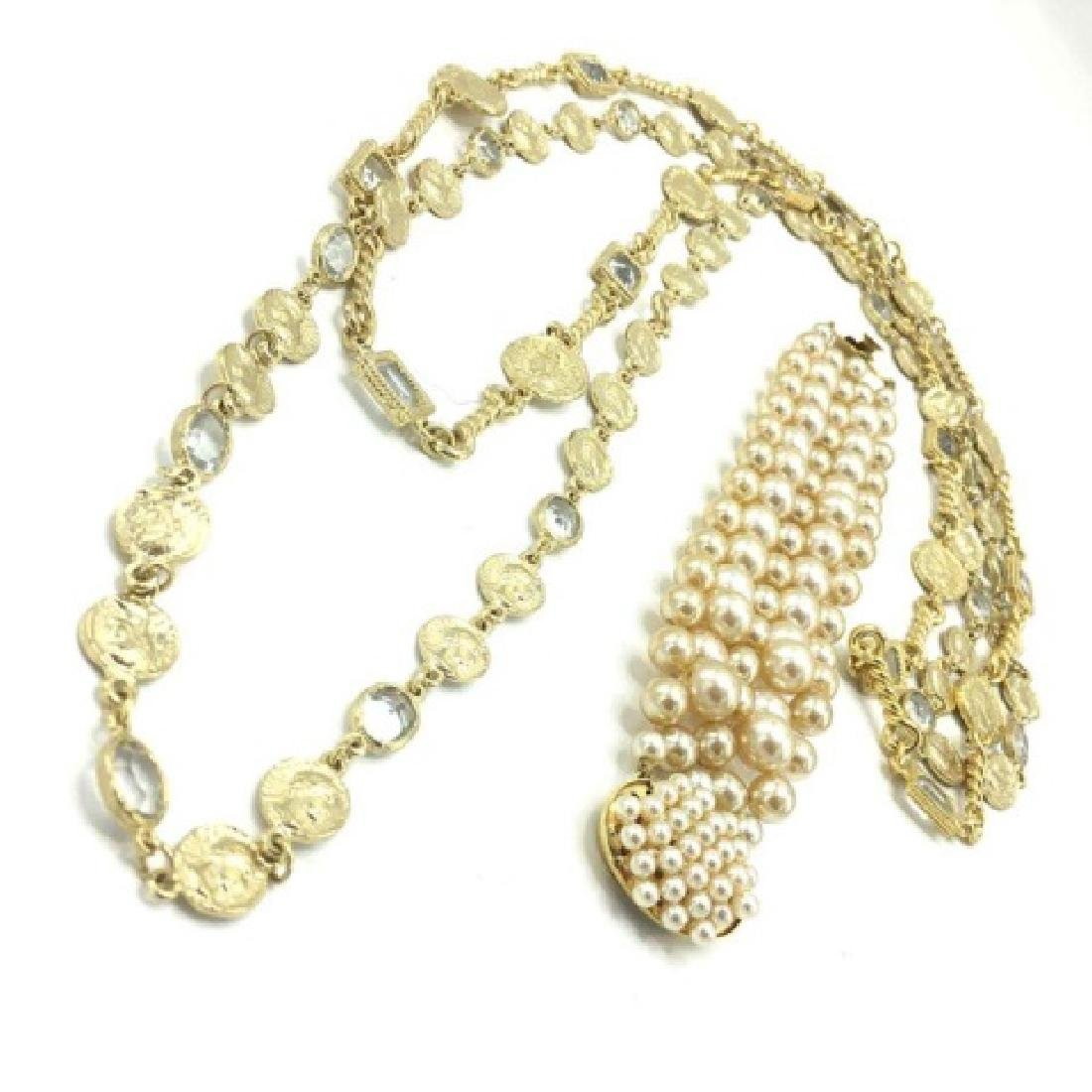 Costume Pearl Bracelet, Crystal & Coin Necklace - 2
