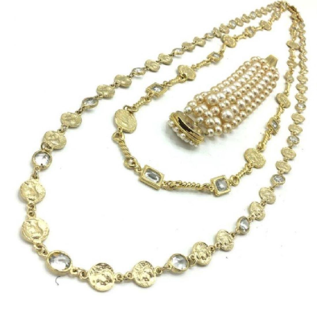 Costume Pearl Bracelet, Crystal & Coin Necklace - 3