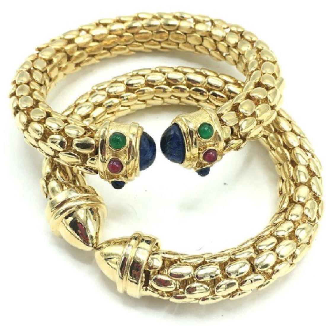 Pair of Costume Cuff Bracelets w/ Faux Gems