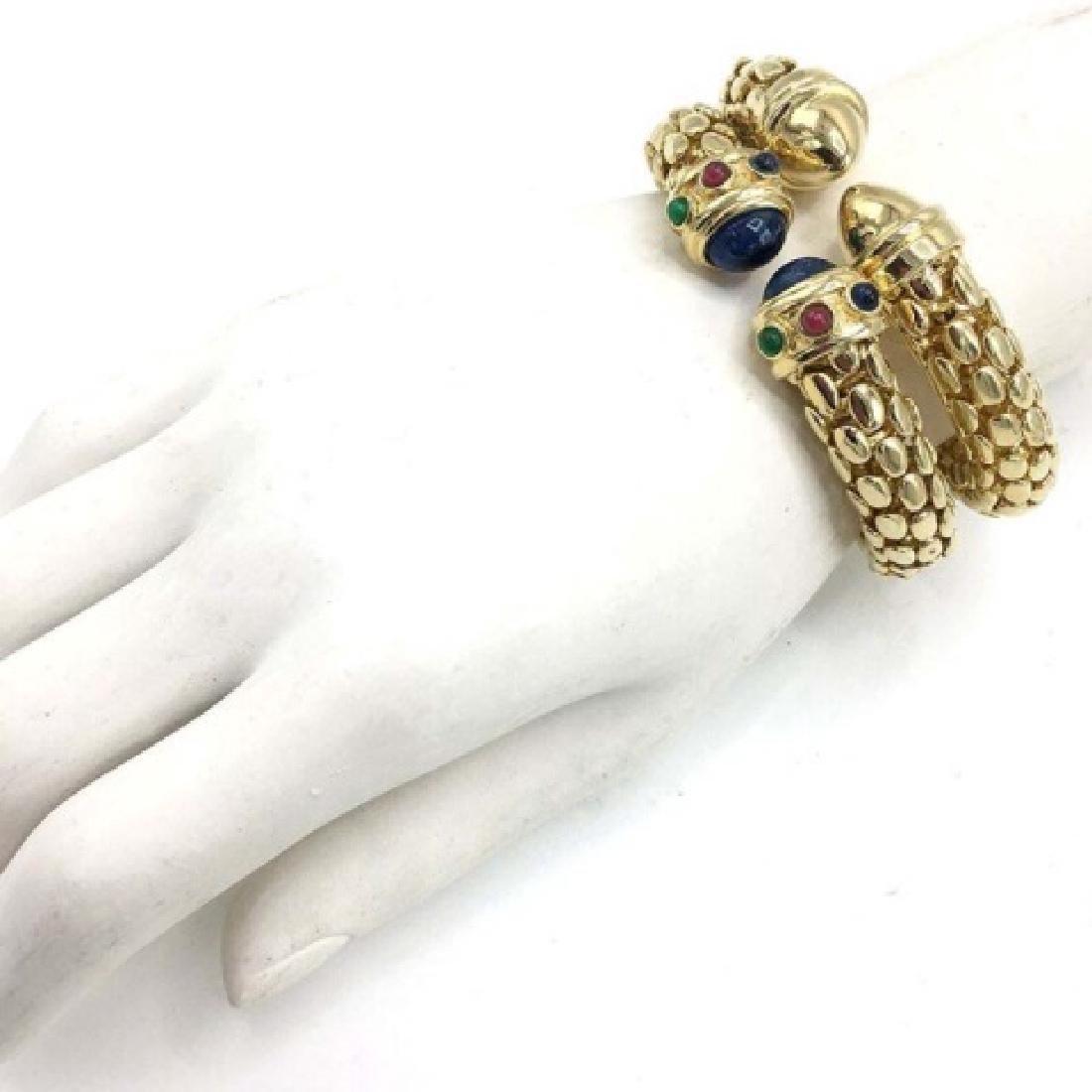 Pair of Costume Cuff Bracelets w/ Faux Gems - 2