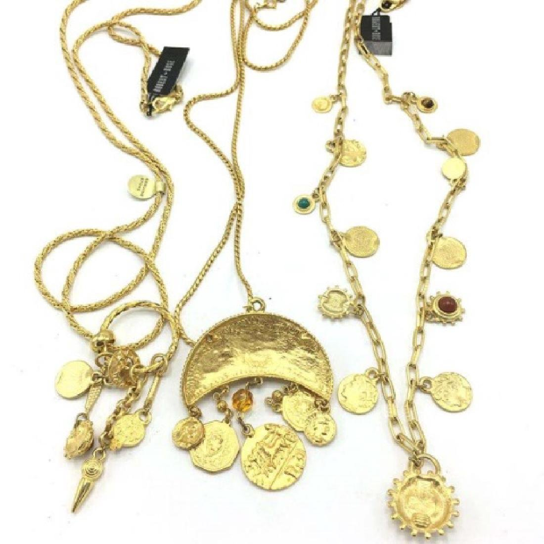 Vintage 1980s Costume Gold Roman Coin Necklaces - 2