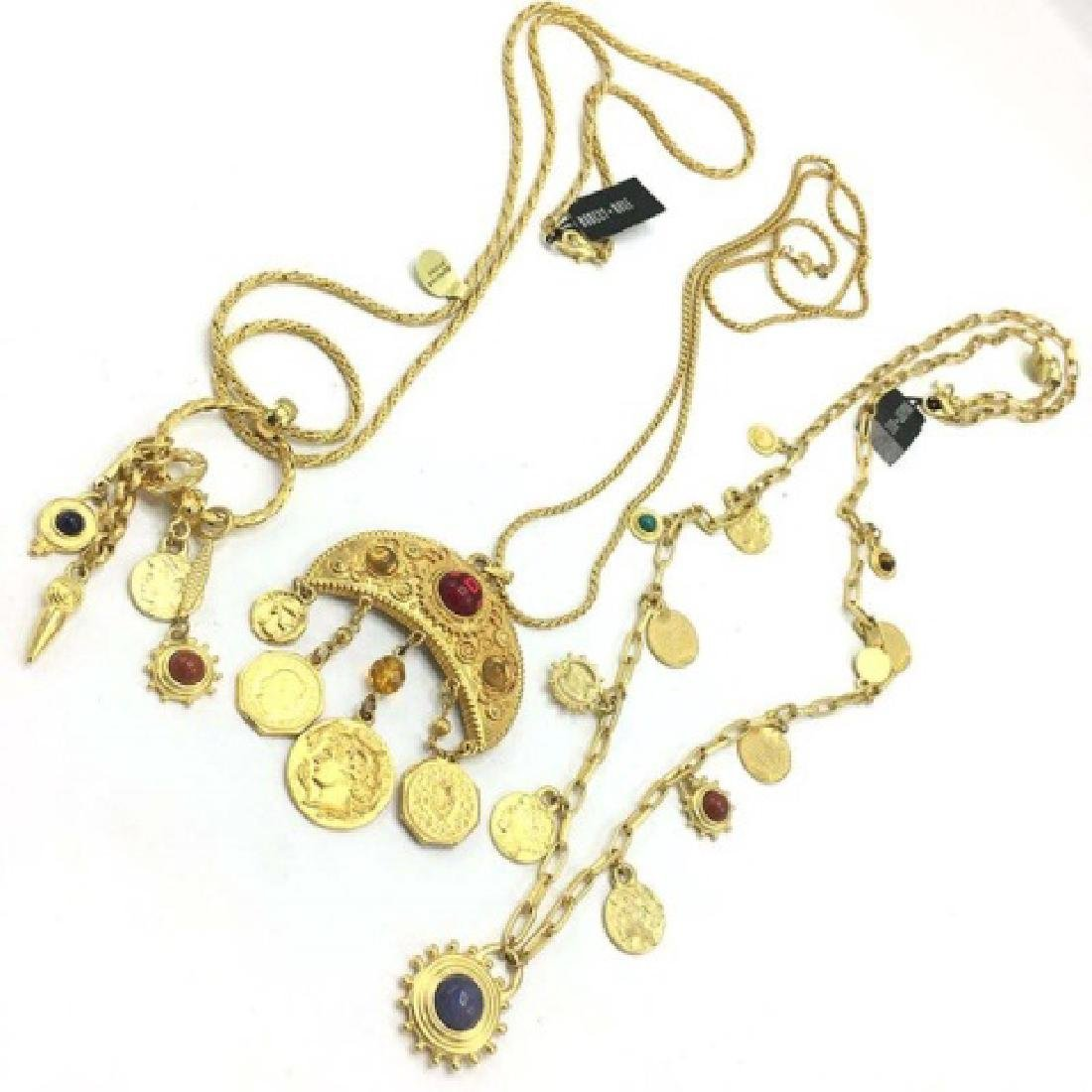Vintage 1980s Costume Gold Roman Coin Necklaces - 3
