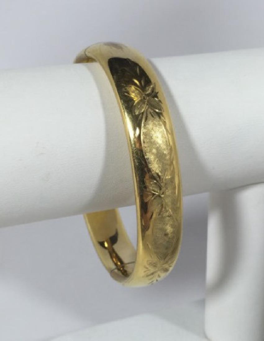 Vintage Chased Floral Design Gold Bracelet - 2