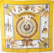 Hermes Paris Silk Scarf  Brazil w Feather Motif
