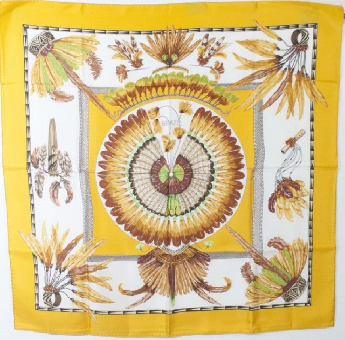 Hermes Paris Silk Scarf - Brazil w Feather Motif