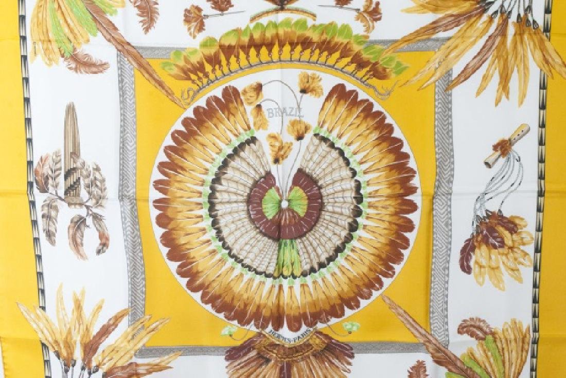 Hermes Paris Silk Scarf - Brazil w Feather Motif - 5