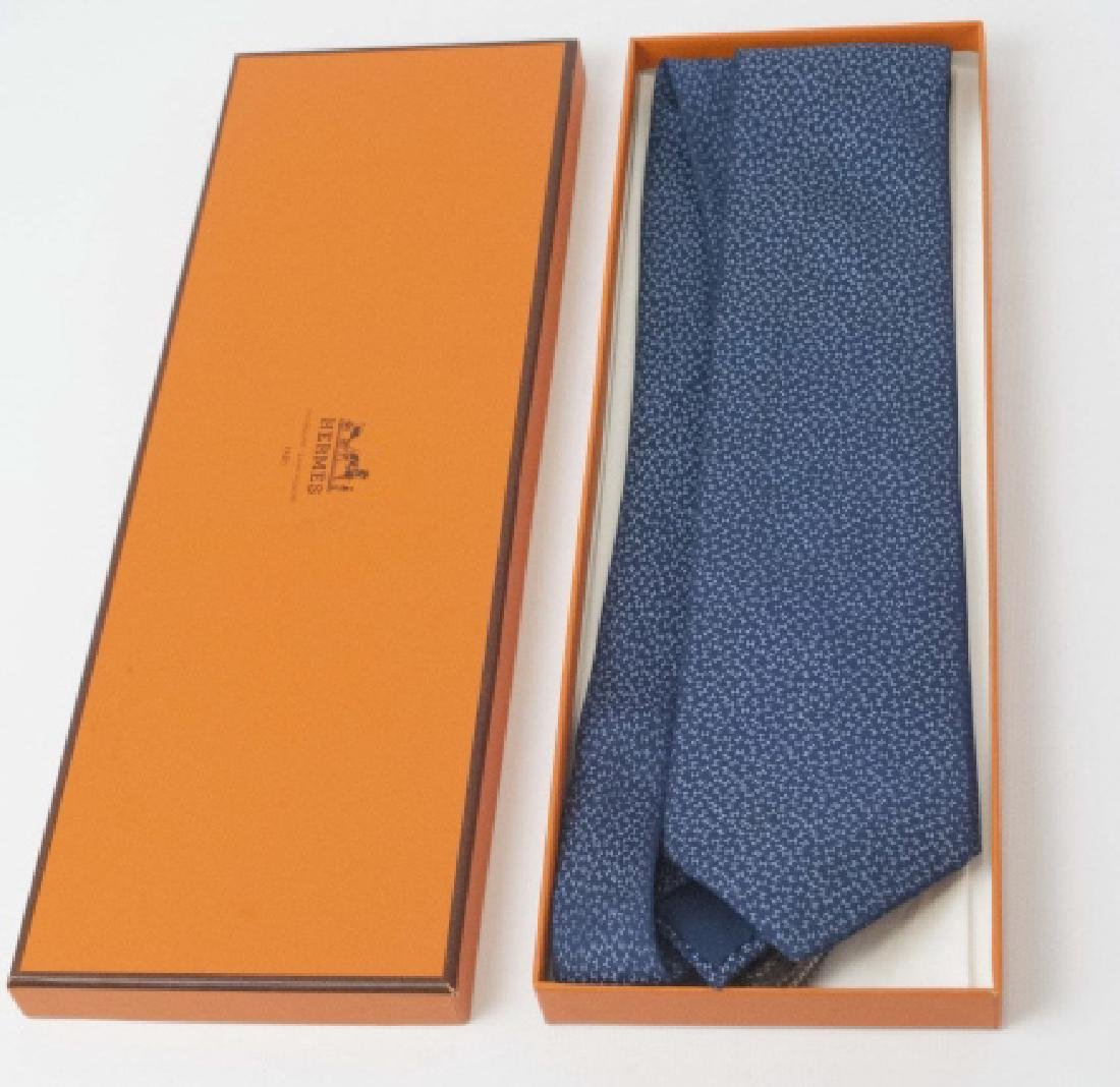 "Classic Hermes Paris Blue ""H"" Tie & Orange Box"