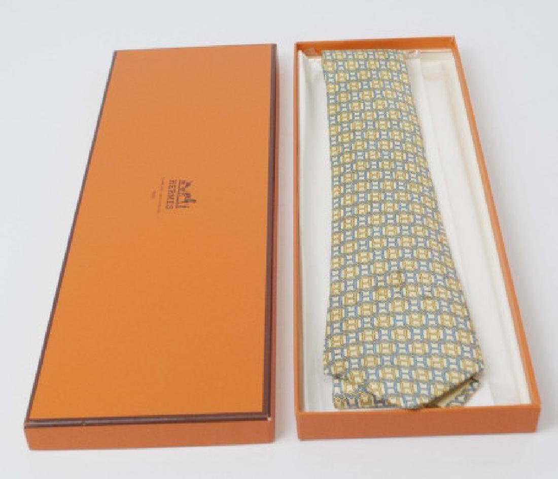 "Hermes Paris Blue-Yellow ""H"" Tie & Orange Box"
