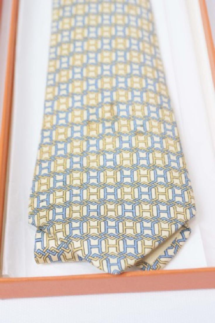 "Hermes Paris Blue-Yellow ""H"" Tie & Orange Box - 2"