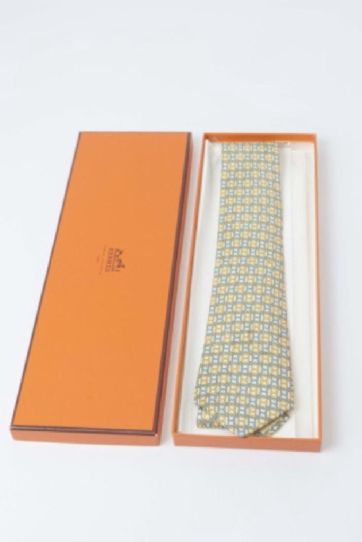 "Hermes Paris Blue-Yellow ""H"" Tie & Orange Box - 3"